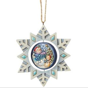 Snowflake with snowman and cat ornament